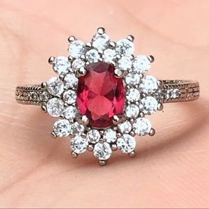 Vintage red ruby and white sapphire ring